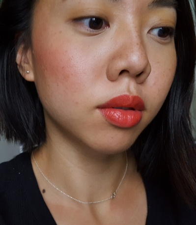 Chanel Rouge Coco Lip Blush in 412 Orange Explosive on lips and cheeks, 2 layers