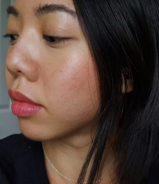 Chanel Rouge Coco Lip Blush in 416 Teasing Pink on lips and sheeks