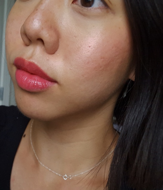 Chanel Rouge Coco Lip blush in 416 Teasing Pink on lips and cheek